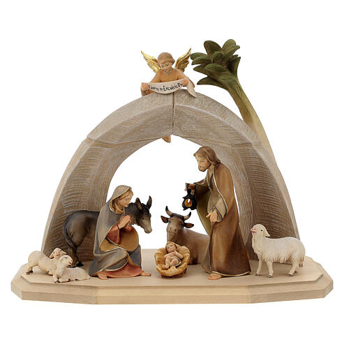 Nativity Scene in arched cave Original Redentore model in painted wood from Valgardena 12 cm - 9 pieces 1