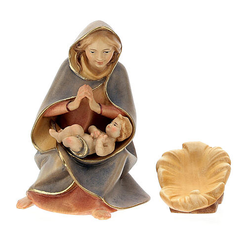 Nativity Scene in arched cave Original Redentore model in painted wood from Valgardena 12 cm - 9 pieces 3