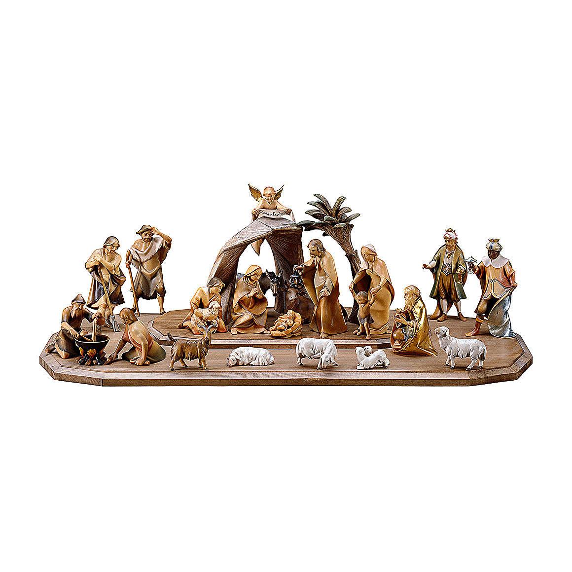 Crèche dans cabane Rédempteur modèle Original Rédempteur bois peint Val  Gardena 10 cm 21 pcs 4