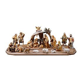 Crèche dans cabane Rédempteur modèle Original Rédempteur bois peint Val  Gardena 10 cm 21 pcs s1