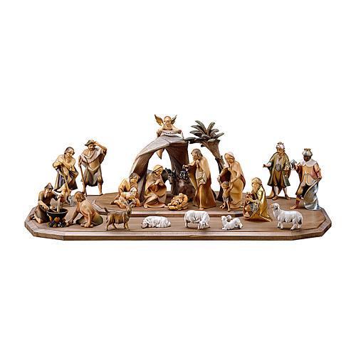 Crèche dans cabane Rédempteur modèle Original Rédempteur bois peint Val  Gardena 10 cm 21 pcs 1