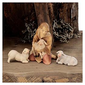 Sagrada Familia con pastor en la cueva belén Original Redentor madera Val Gardena de altura media 12 cm - 6 piezas s4