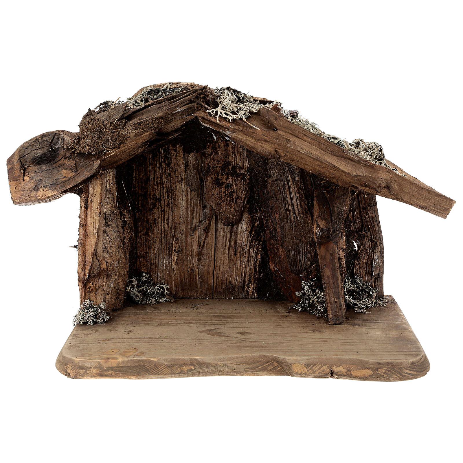 Sainte Famille avec berger dans grotte crèche Original Rédempteur bois peint Val  Gardena 12 cm 6 pcs 4