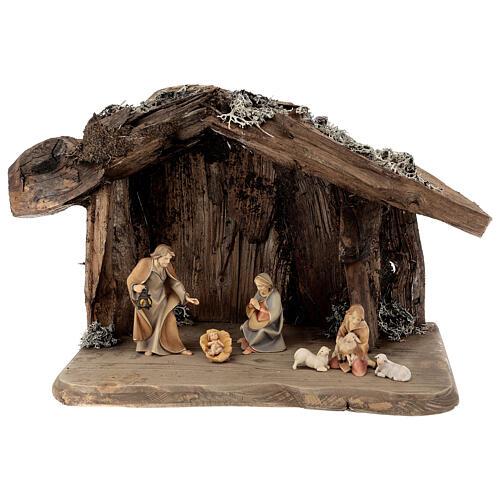 Sainte Famille avec berger dans grotte crèche Original Rédempteur bois peint Val  Gardena 12 cm 6 pcs 1