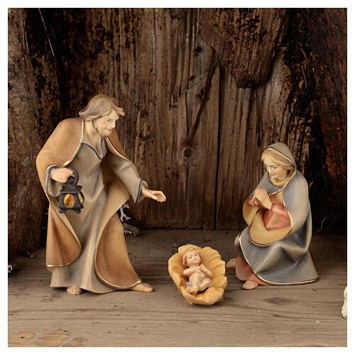 Sainte Famille avec berger dans grotte crèche Original Rédempteur bois peint Val  Gardena 12 cm 6 pcs 2