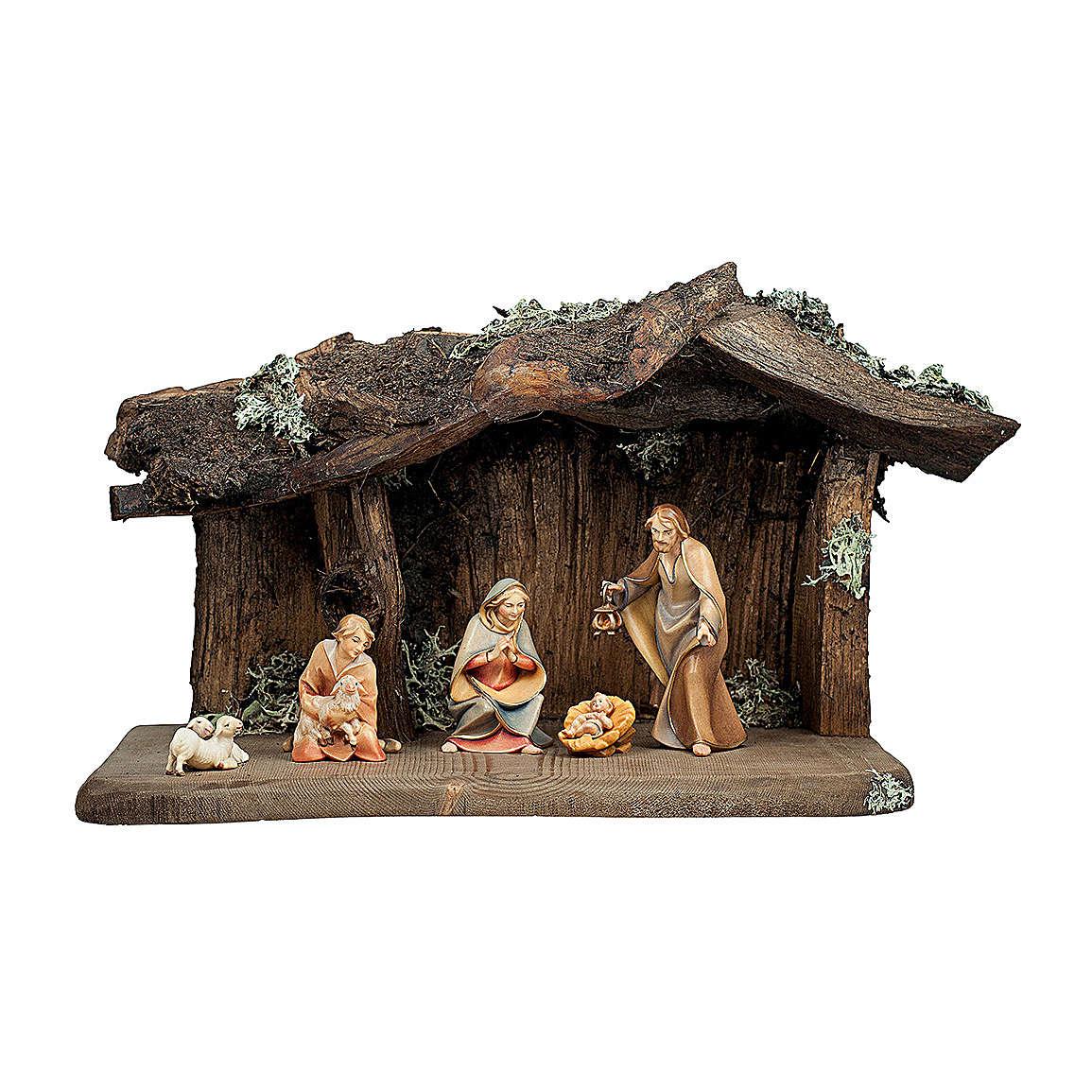 Sacra famiglia con pastorello nella grotta presepe Original Redentore legno Valgardena 12 cm - 6 pz 4