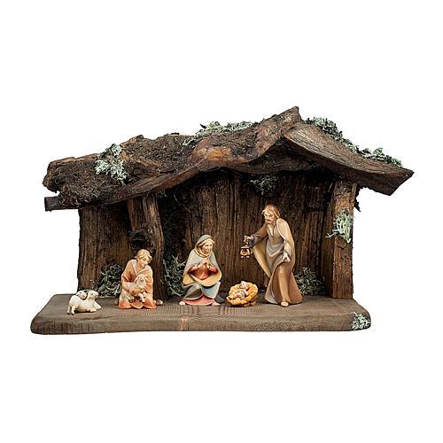 Sacra famiglia con pastorello nella grotta presepe Original Redentore legno Valgardena 12 cm - 6 pz 1