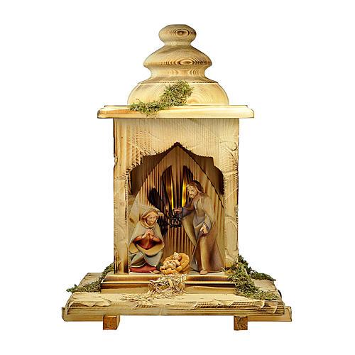 Sacra famiglia nella lanterna con luce presepe Original Redentore legno dipinto in Valgardena 12 cm 1