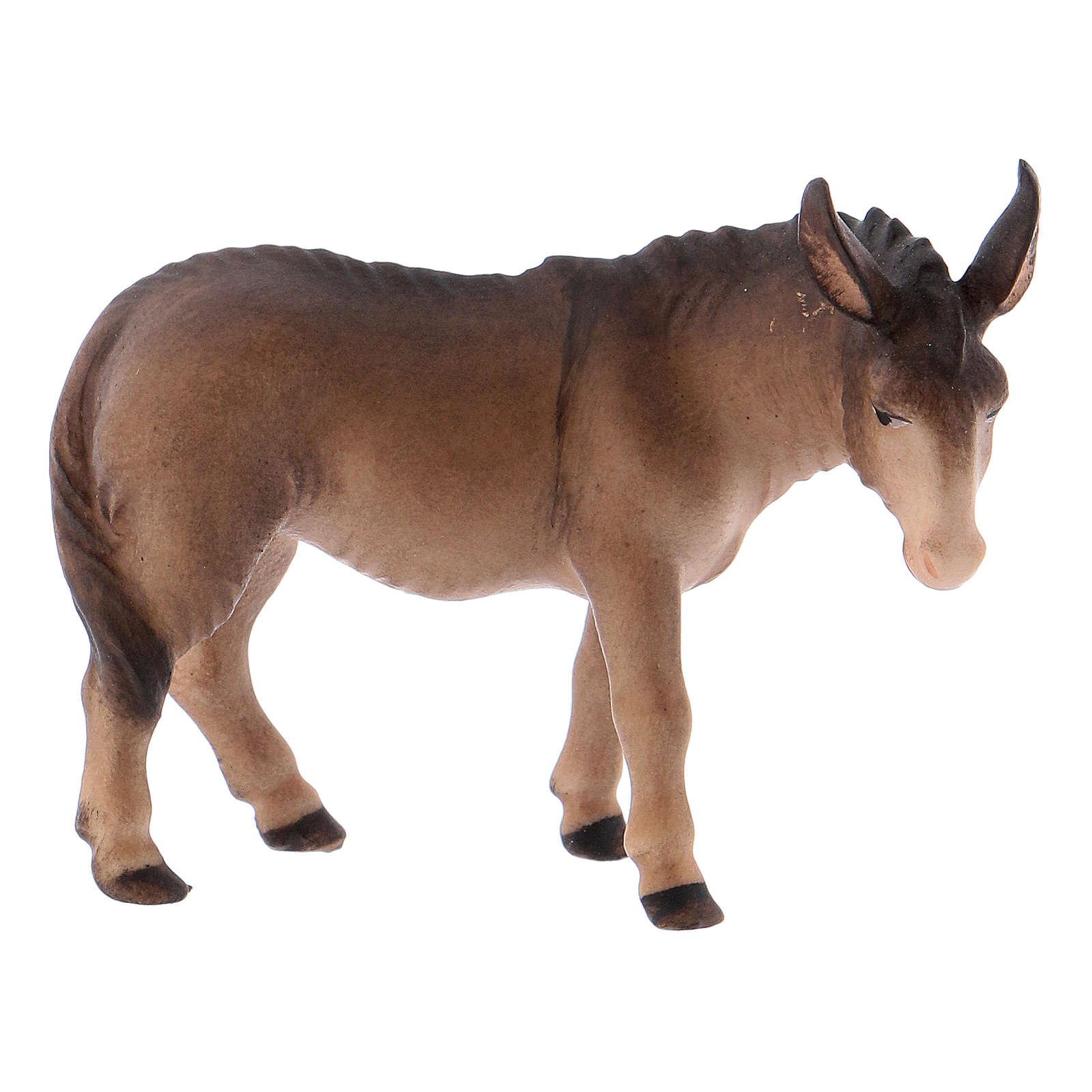 Buey sentado y burro de pie belén Original Cometa madera pintada en Val Gardena 10 cm de altura media 4