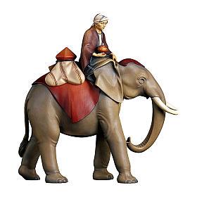Gruppo elefante con sella gioielli presepe Original Cometa legno dipinto in Val Gardena 10 cm s1