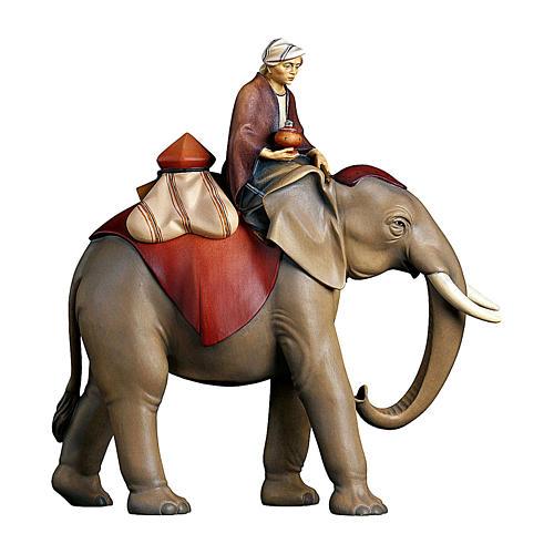 Gruppo elefante con sella gioielli presepe Original Cometa legno dipinto in Val Gardena 10 cm 1