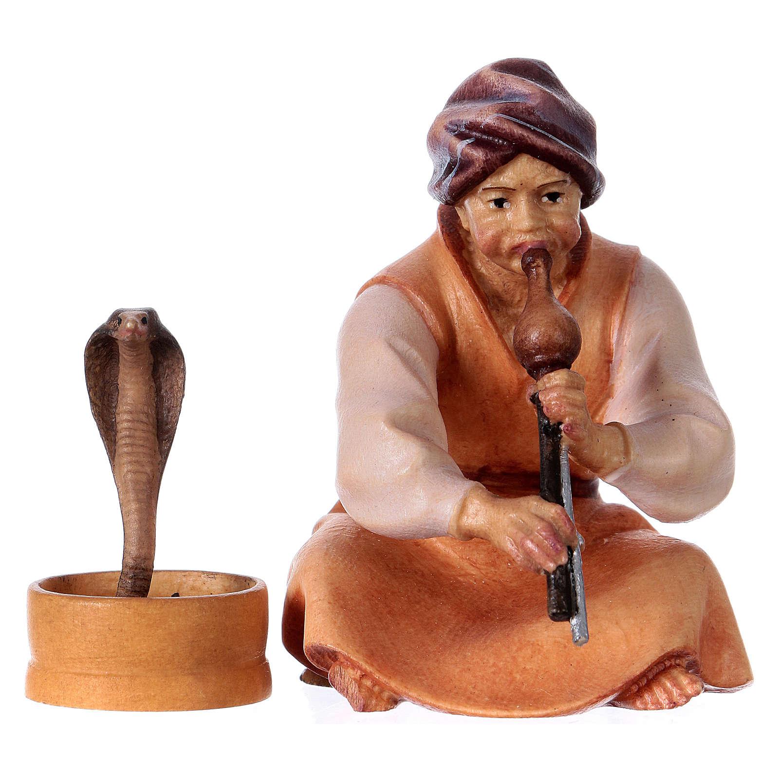 Incantatore di serpenti presepe Original Cometa legno dipinto in Val Gardena 10 cm 4