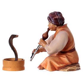 Incantatore di serpenti presepe Original Cometa legno dipinto in Val Gardena 10 cm s2