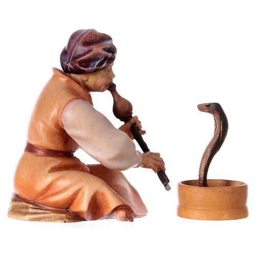 Incantatore di serpenti presepe Original Cometa legno dipinto in Val Gardena 10 cm 3