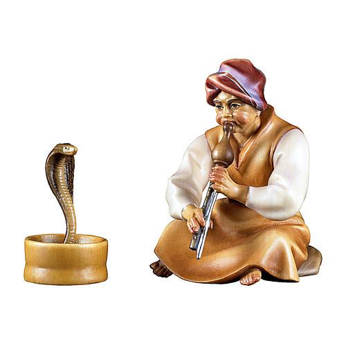 Incantatore di serpenti presepe Original Cometa legno dipinto in Valgardena 12 cm 1