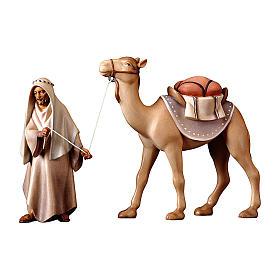 Gruppo del cammello in piedi presepe Original Cometa legno dipinto in Valgardena 12 cm s1