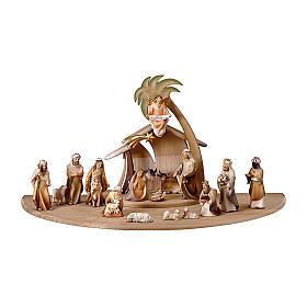 Belén Val Gardena: Belén con pastores mod. Original Cometa madera pintada en Val Gardena 10 cm de altura media - 19 piezas