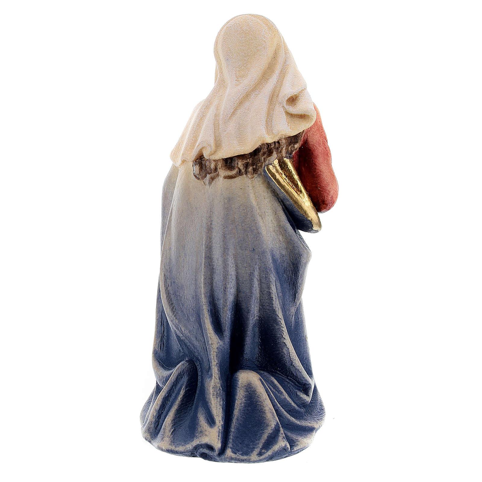 Mary figurine 12 cm, nativity Kostner, in painted wood 4
