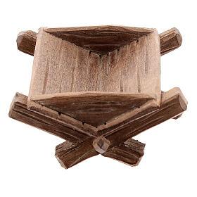 Culla semplice per Bambinello legno dipinto presepe Kostner 12 cm s1