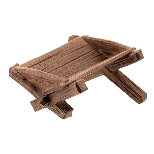 Culla semplice per Bambinello legno dipinto presepe Kostner 12 cm 2