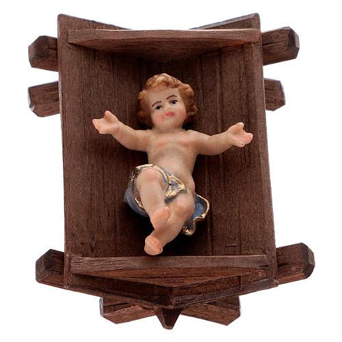 Wood manger for Baby Jesus 12 cm, nativity Kostner, in painted wood 1