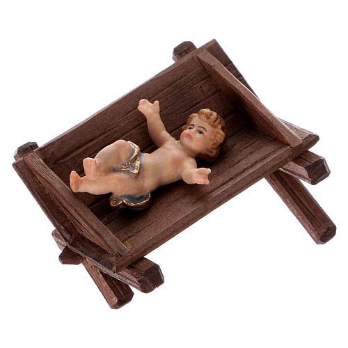 Wood manger for Baby Jesus 12 cm, nativity Kostner, in painted wood 2