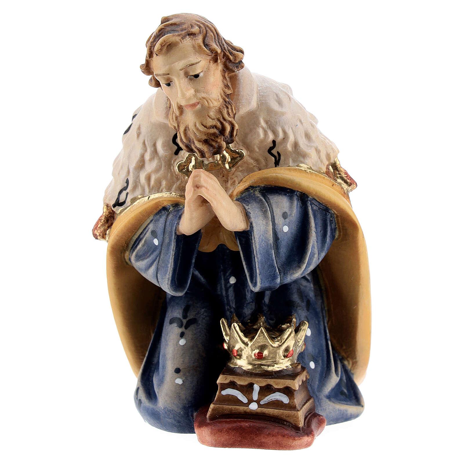 Kneeling king in painted wood for Kostner Nativity Scene 12 cm 4