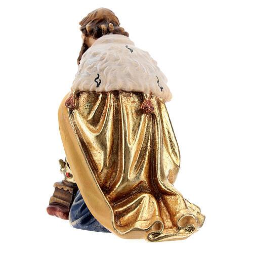 Magi king kneeling 12 cm, nativity Kostner, in painted wood 4