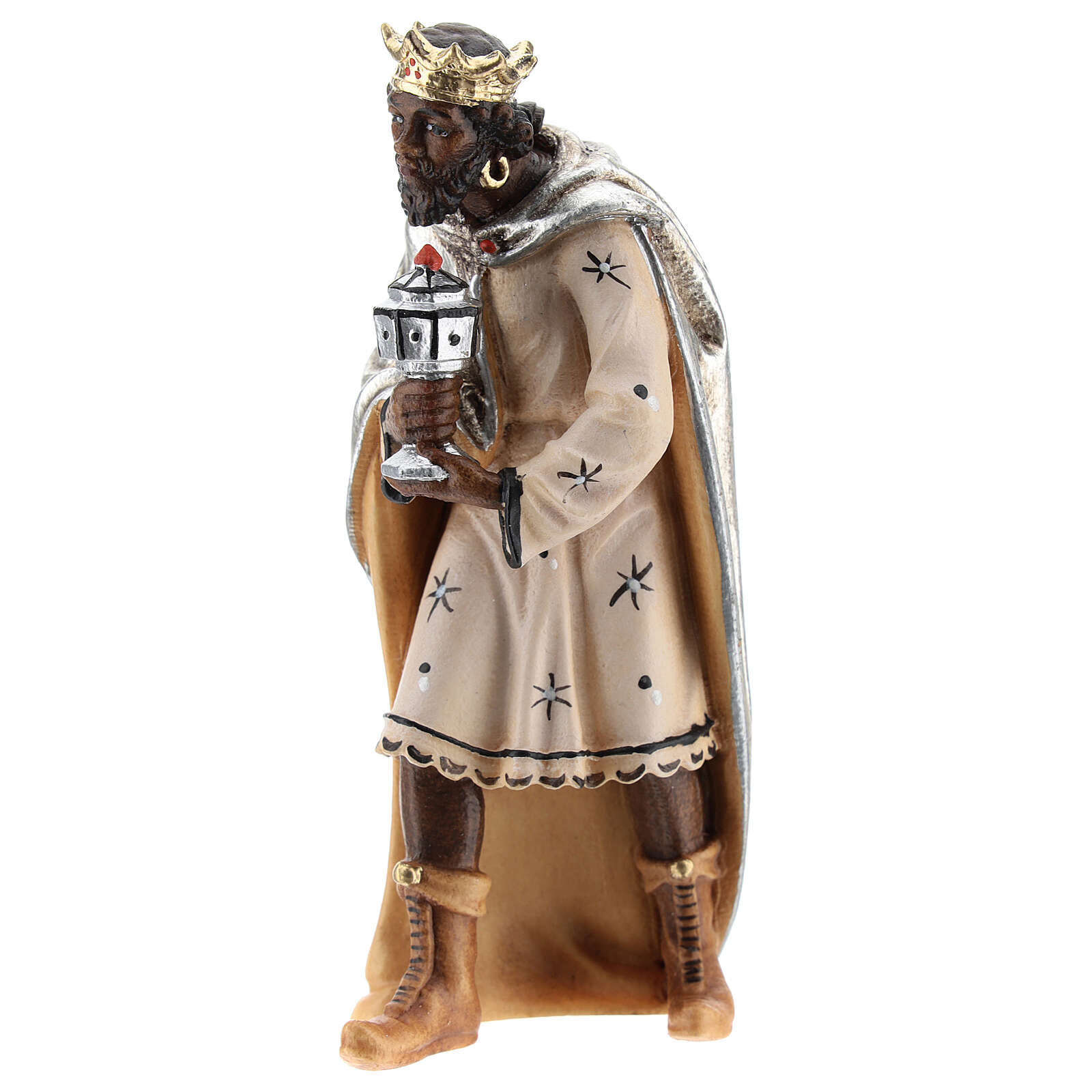 Moor king in painted wood for Kostner Nativity Scene 12 cm 4