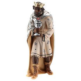 Moor king 12 cm, nativity Kostner, in painted wood s1