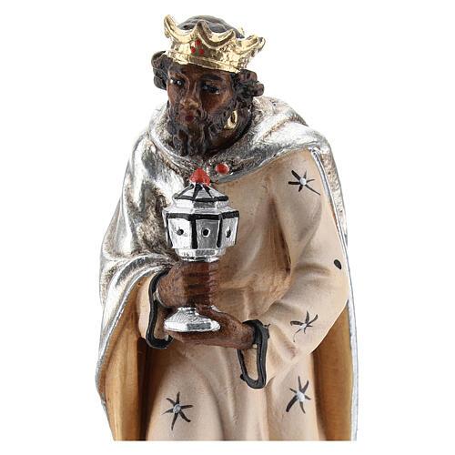 Moor king 12 cm, nativity Kostner, in painted wood 2