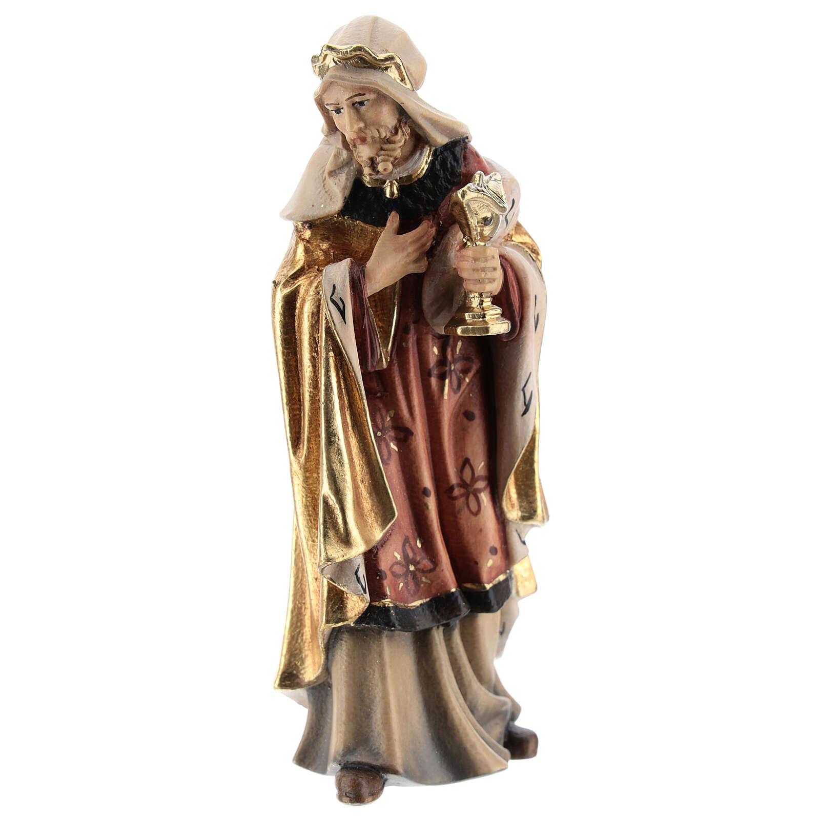 White king in painted wood for Kostner Nativity Scene 12 cm 4
