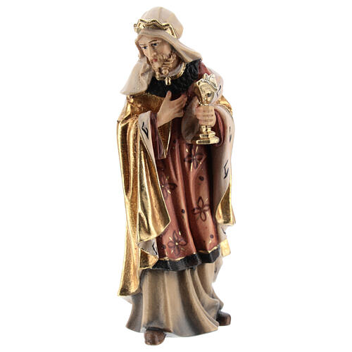 White king in painted wood for Kostner Nativity Scene 12 cm 1