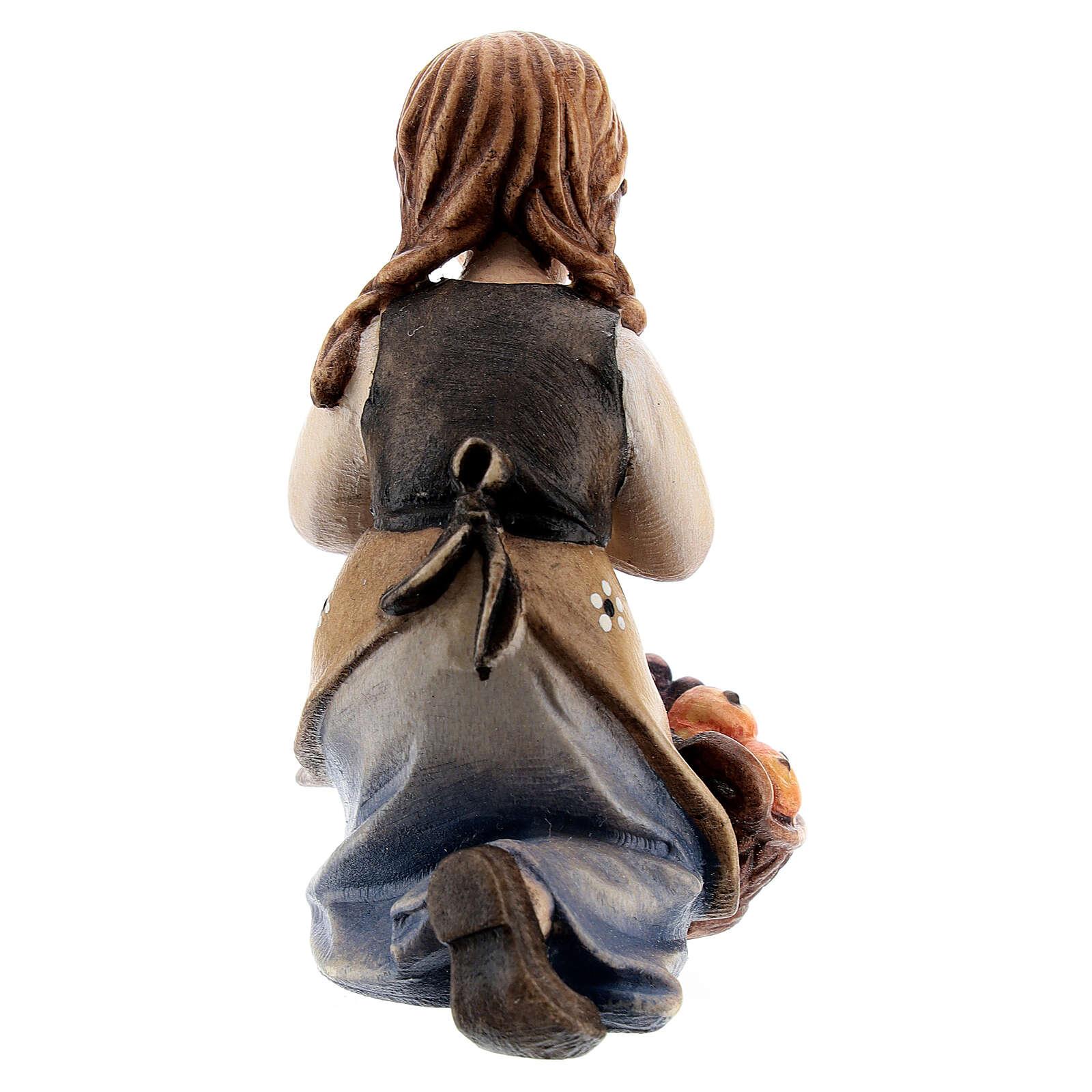 Kneeling girl in painted wood for Kostner Nativity Scene 12 cm 4