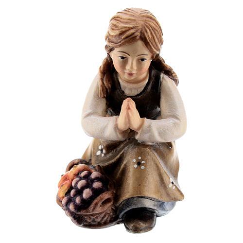 Kneeling girl in painted wood for Kostner Nativity Scene 12 cm 1