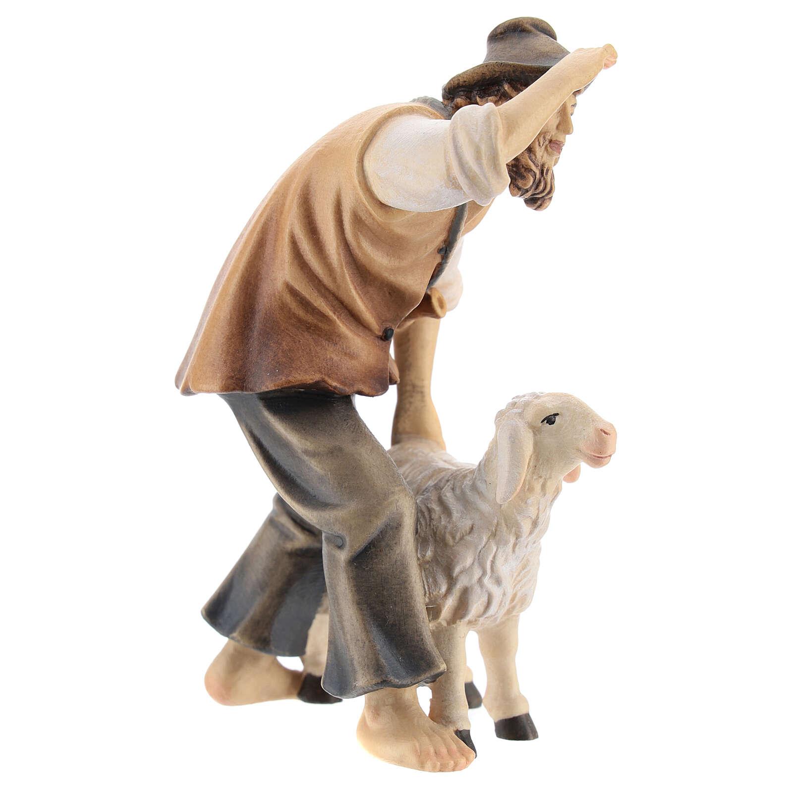 Berger avec mouton bois peint crèche Kostner 12 cm 4