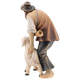 Berger avec mouton bois peint crèche Kostner 12 cm s5