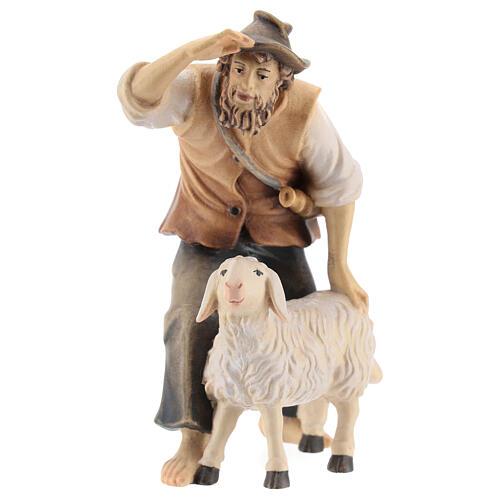 Berger avec mouton bois peint crèche Kostner 12 cm 1