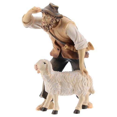 Berger avec mouton bois peint crèche Kostner 12 cm 3