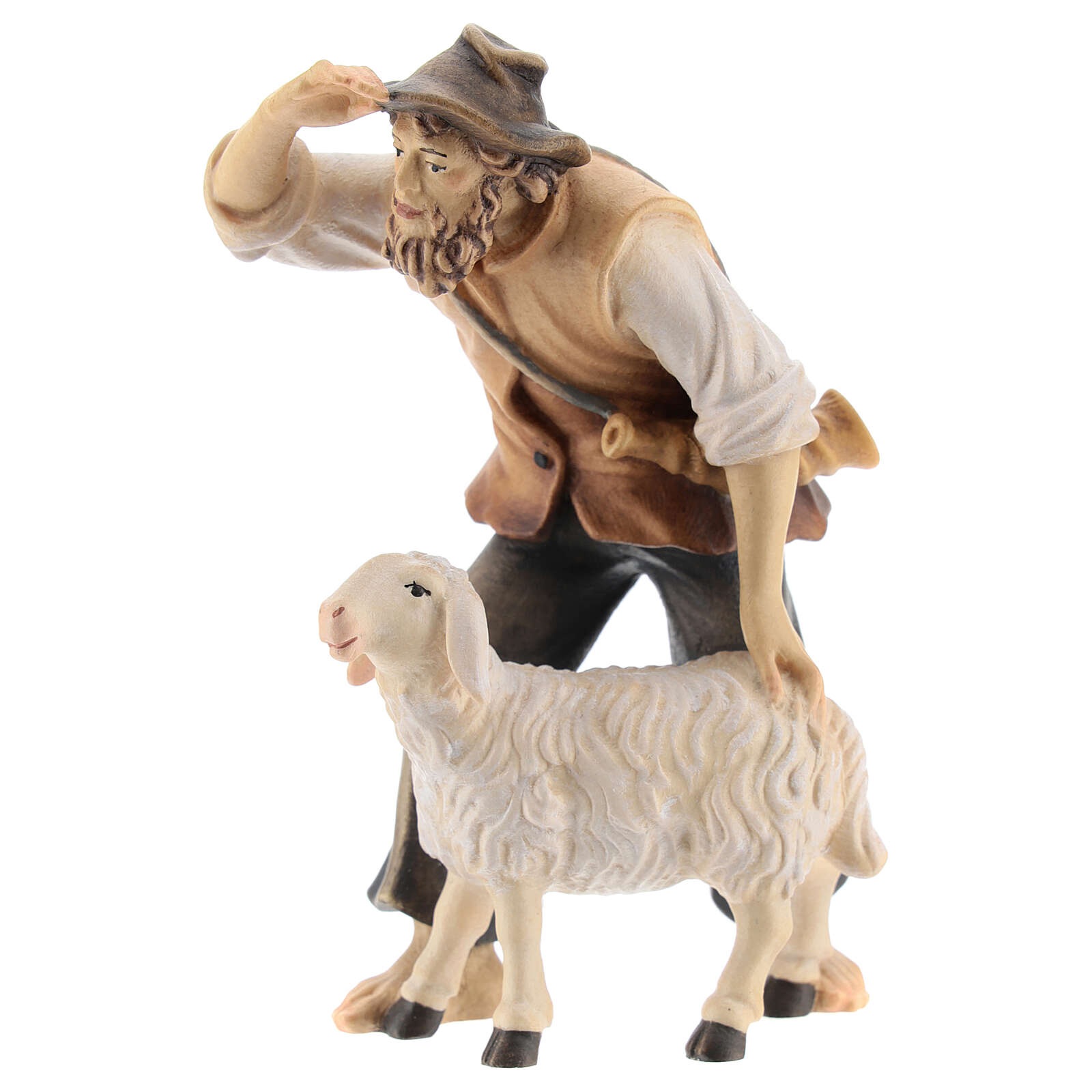 Kostner Nativity Scene 12 cm, gazing shepherd with sheep in painted wood 4