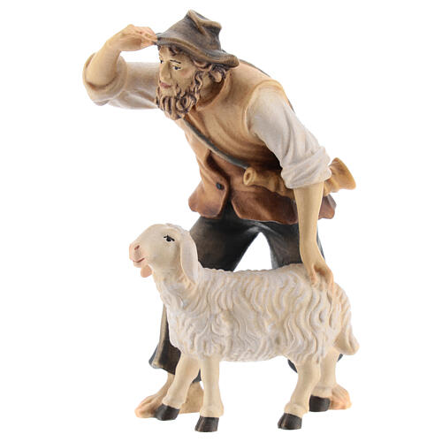 Kostner Nativity Scene 12 cm, gazing shepherd with sheep in painted wood 3