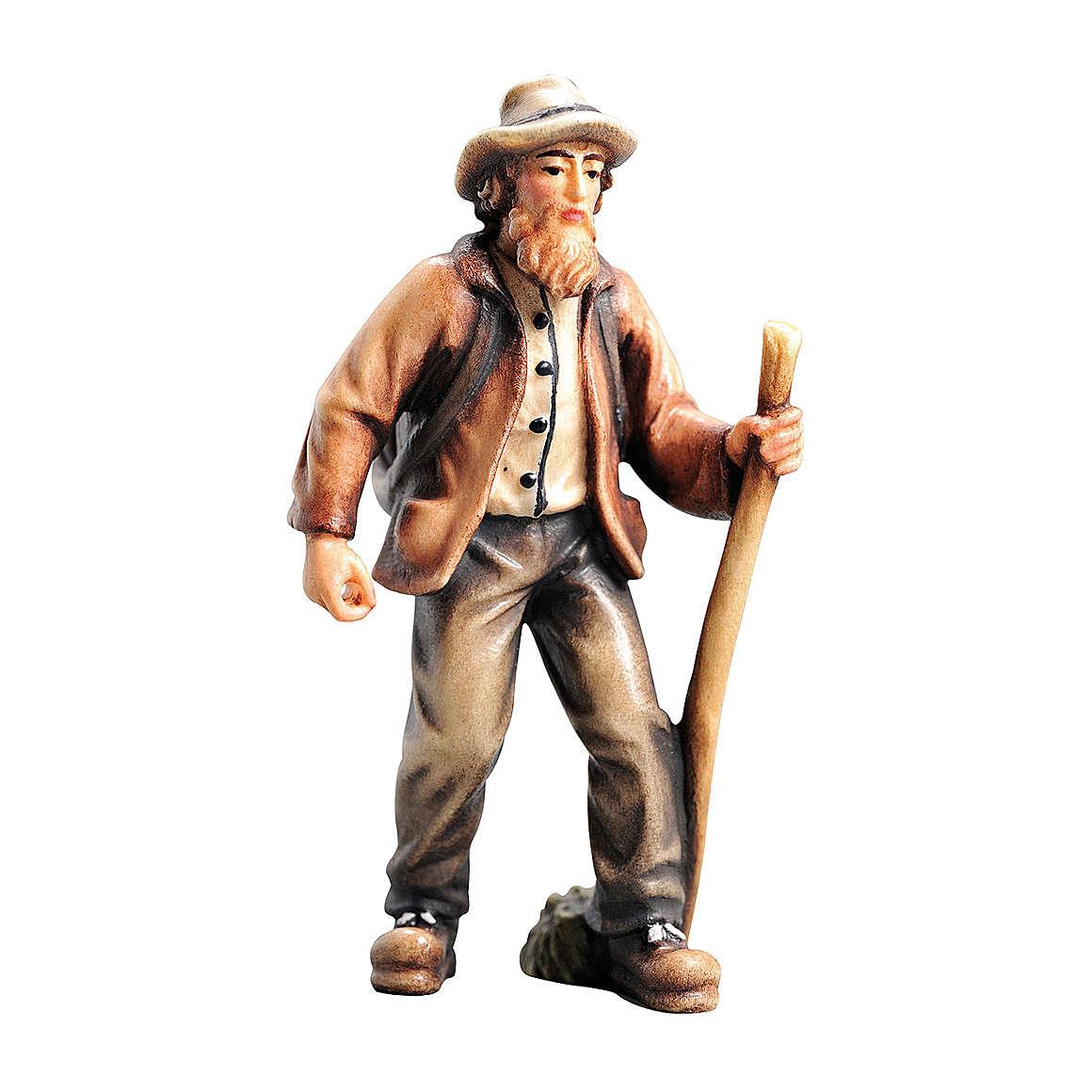 Agriculteur bois peint crèche Kostner 9,5 cm 4