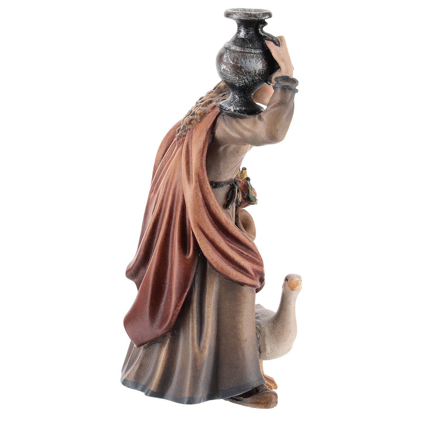Woman with jug in painted wood, Kostner Nativity scene 12 cm 4