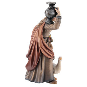 Woman with jug in painted wood, Kostner Nativity scene 12 cm s4