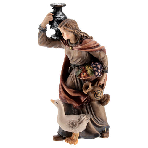 Woman with jug in painted wood, Kostner Nativity scene 12 cm 3