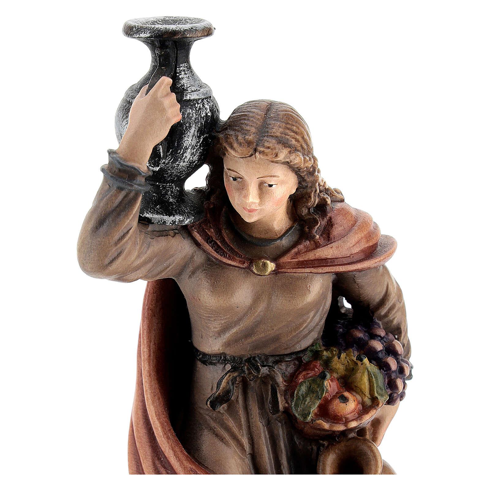 Mujer con jarra madera pintada Kostner belén 12 cm 4
