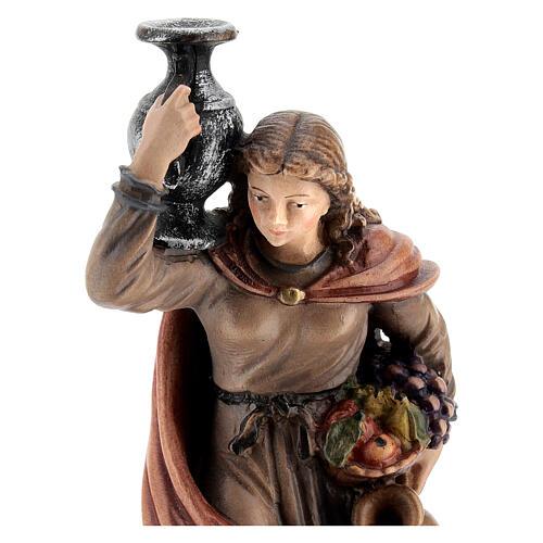 Mujer con jarra madera pintada Kostner belén 12 cm 2