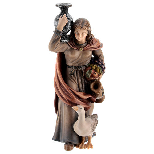 Kostner Nativity Scene 12 cm, woman with jug and duck, in painted wood 1