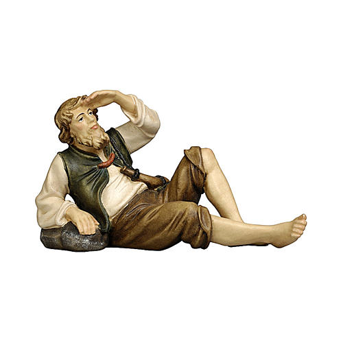 Pastore sdraiato legno dipinto Kostner presepe 9,5 cm 1
