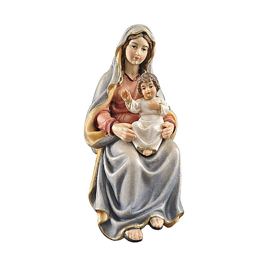 Holy Mary with Child in painted wood, Kostner Nativity scene 12 cm 4